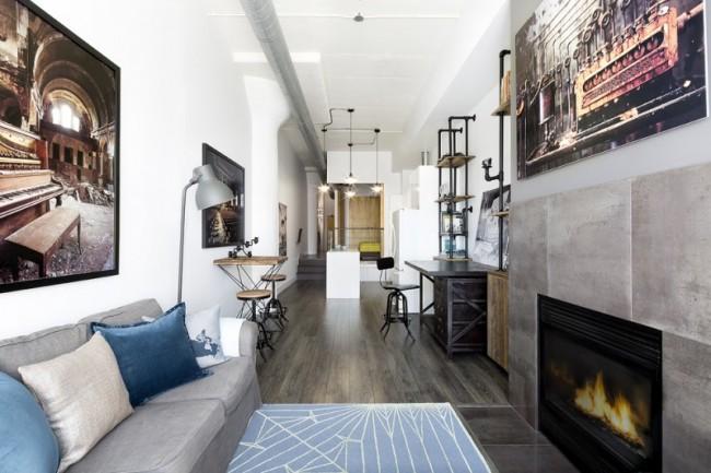 Ламинат в комнате оформленной в стиле лофт
