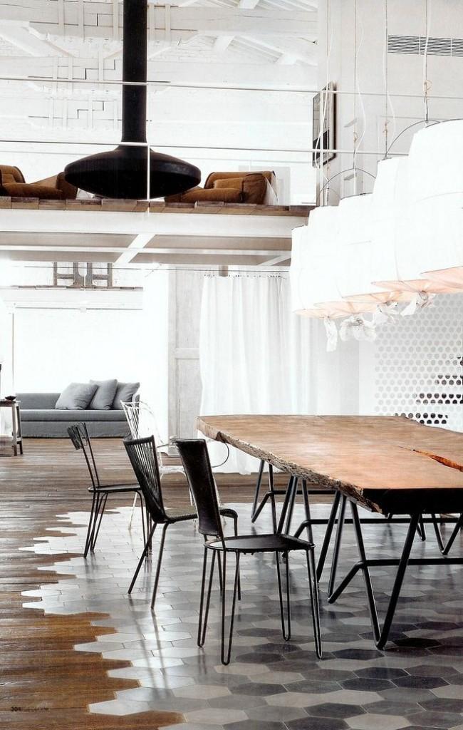 Оригинальное решение разделения столовой зоны от залы