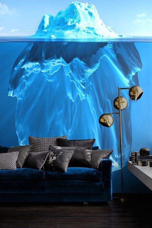 Голубой цвет айсберга идеально подходит под диван