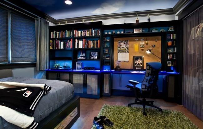 Даже если комната подростка оформлена в темных местах рабочее место лучше сделать более светлым