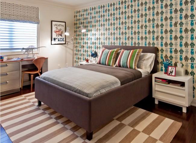 Объединение паркета с ковровой дорожкой в спальне