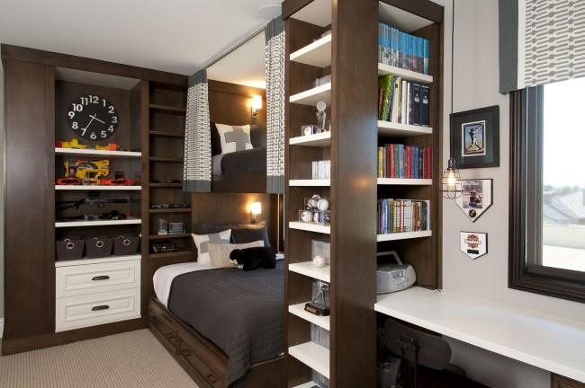 Компактное, удобное и необычное решение для комнаты двух подростков