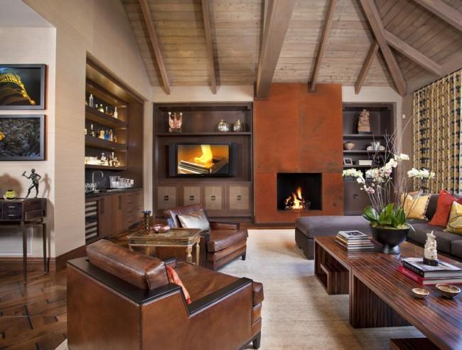 Стенка в классическом стиле идеально подойдет для просторной гостиной