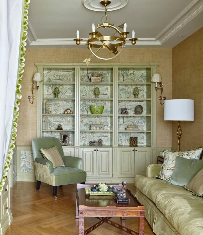 Прекрасная стенка в интерьере гостиной
