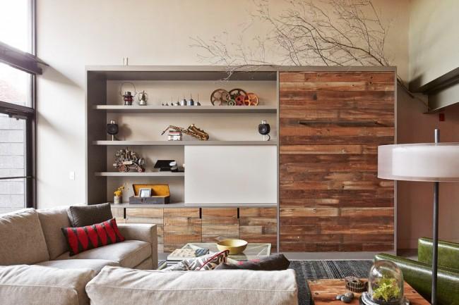 Удачная стенка поможет сэкономить пространство в вашей гостиной