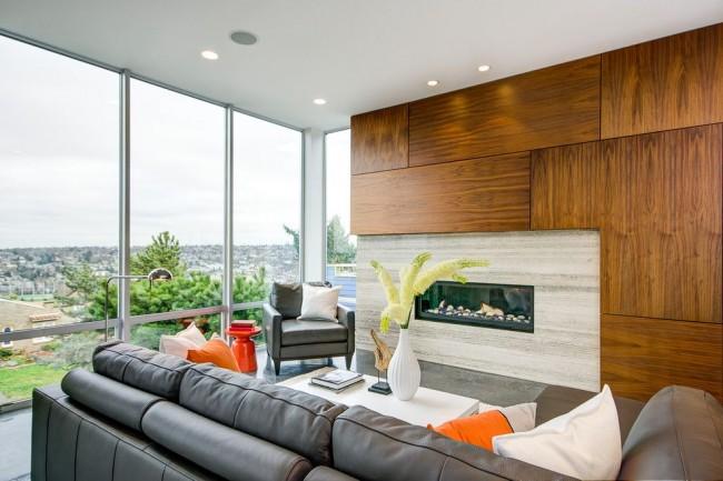 Гостиная в стиле модерн с отделкой стеновыми панелями