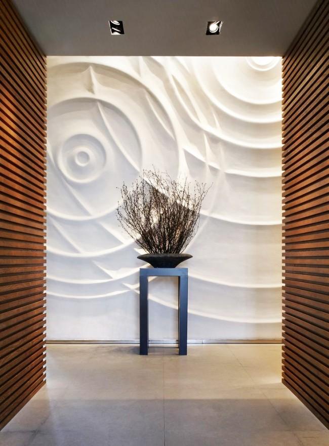 3D стеновая панель в современном интерьере