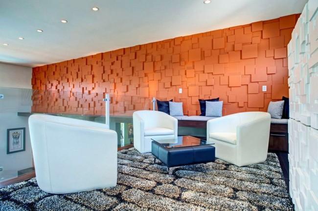 Яркие 3Д-стеновые панели в интерьере современной гостиной