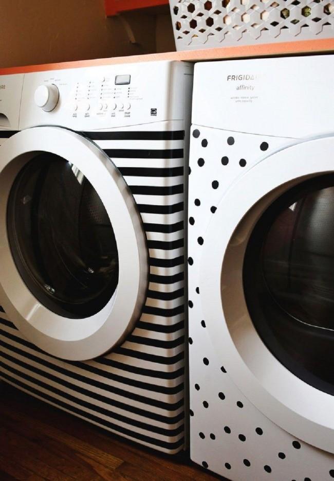 Что бы стиральная машина заиграла новыми красками, вы можете ее обклеить самоклейкой