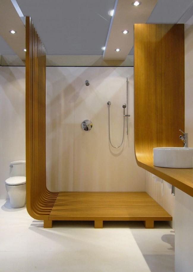Душевая кабина в стиле модерн в совмещенной ванной комнате