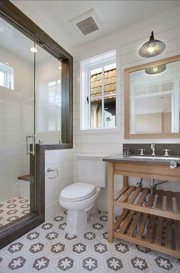 Скандинавский стиль красиво смотрится в интерьере ванной комнаты