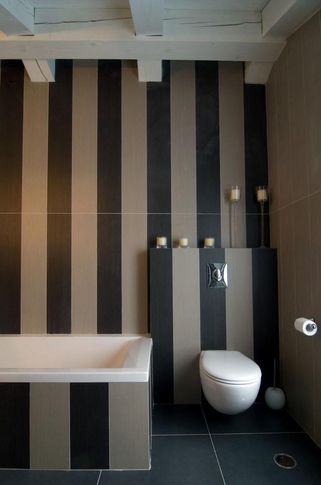 Темные вертикальные полосы помогут сделать помещение выше