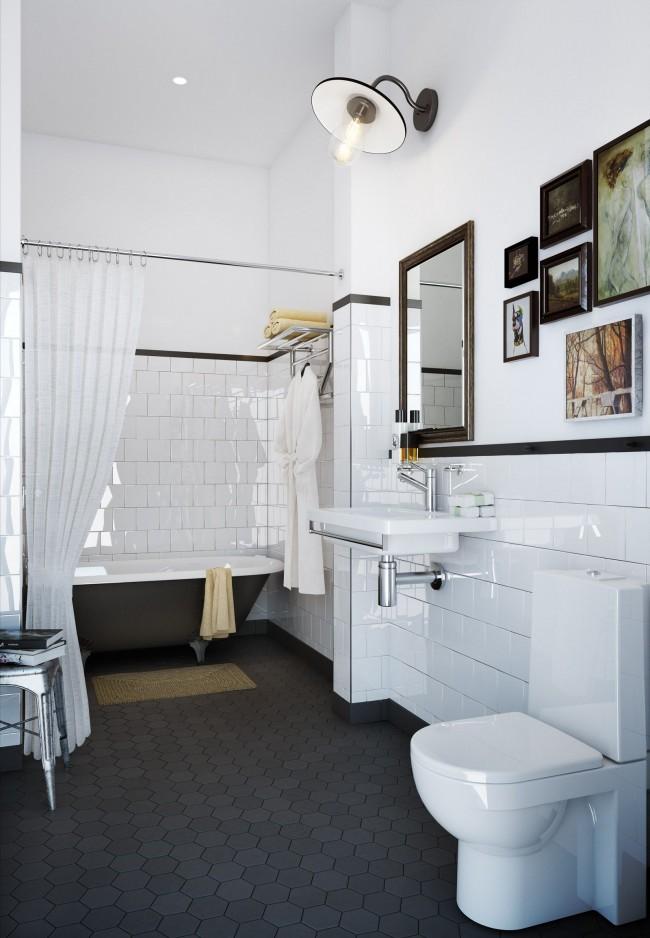 Керамическая плитка в прекрасном интерьере совмещенной ванной комнаты