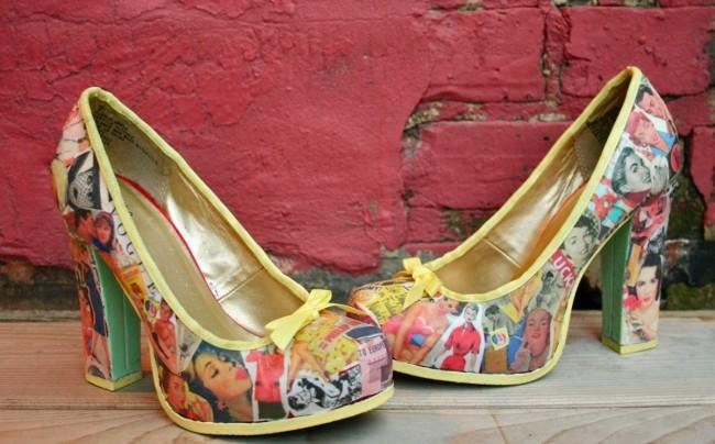 Сочетание техник декупаж и бомбинг-стайл в уникальном украшении обуви