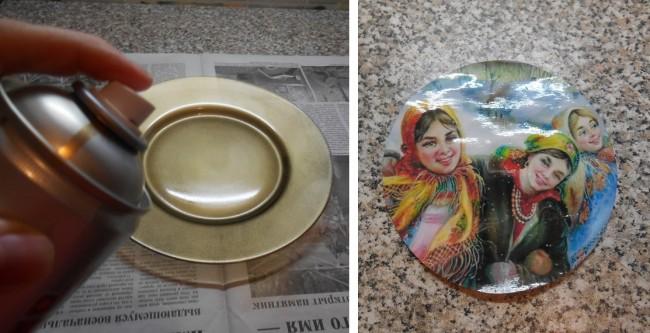 Шаг 1. Обезжиривание и покраска тарелки краской-спреем. Шаг 2. Подготовка рисунка для декупажа