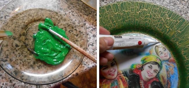 Шаг 5. Поверх кракелюра раскрашиваем тарелку выбранным цветом краски. Украшаем края рисунка каплями металликовой краски