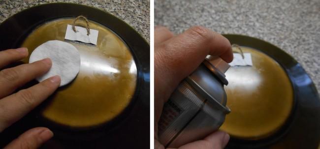 Шаг 7. К обезжиренной обратной стороне тарелки клеим крепление из шпагата и тонкого картона. Шаг 8. Покрываем обратную сторону тарелки металликовой краской-спреем