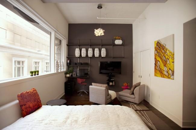 Гостиная и спальня в одной комнате. Стена, выкрашенная в темный цвет, визуально обьединяет общественную зону с домашним мини-офисом
