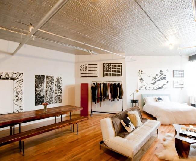 Гостиная и спальня в одной комнате. Индустриальный стиль в оформлении квартиры-студии - частый выбор сегодняшней творческой молодежи