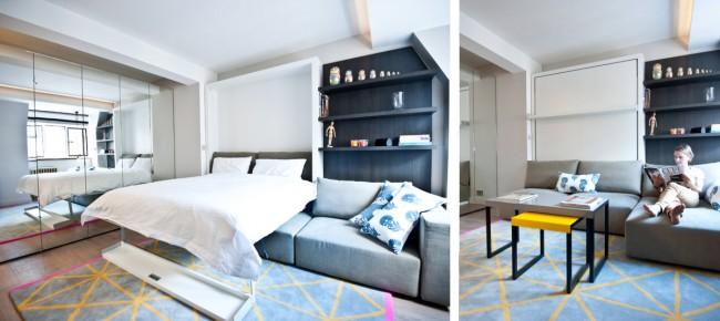 """Гостиная и спальня в одной комнате. Полноценная кровать размера """"queen size"""", которая прячется в шкаф"""