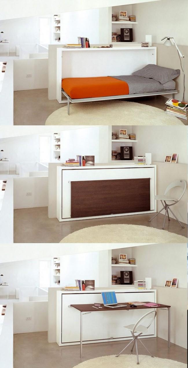 Односпальная кровать и рабочий стол-два в одном - отличный вариант для детской комнаты или малогабаритного жилья студента