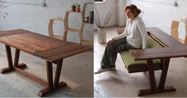 Обеденный стол-диван с вращающейся двусторонней частью столешницы