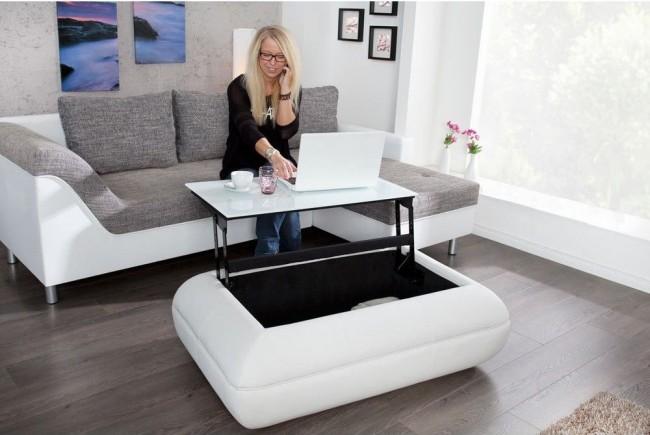 Столик для гостиной три-в-одном: место для хранения, журнальный и рабочий стол
