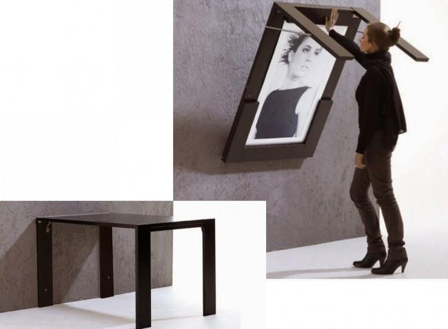 Вариант для тех, кому несимпатична голая утилитарность: раскладной стол, закрепляющийся на стене в сложенном состоянии, может быть и элементом декора помещения