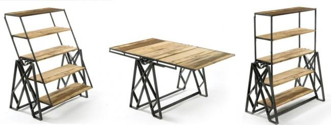 Стеллаж-обеденный стол с вращающимся механизмом трансформации