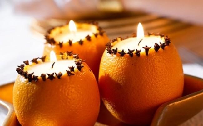 Свечи в апельсинах - оригинальное и актуальное праздничное украшение новогоднего стола