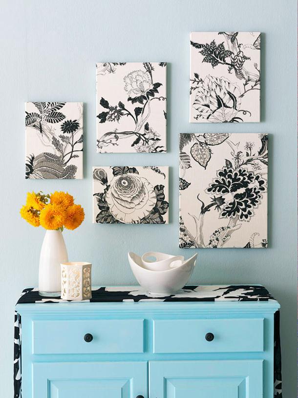 Оригинальное украшение стены тканевыми картинами