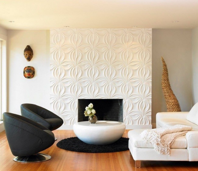Потрясающая идея отдел камина с помощью фактурных панелей