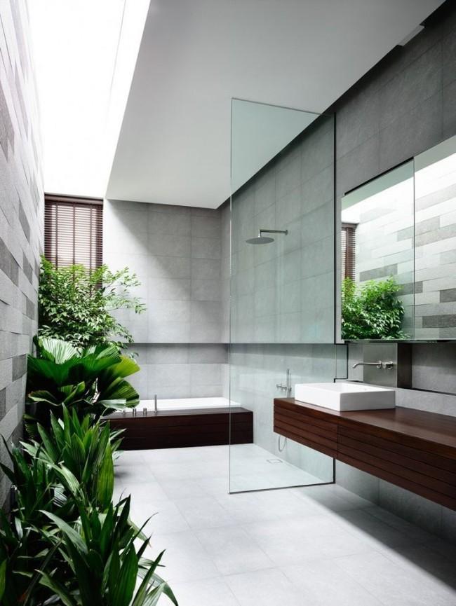 Натуральные растения также являются хорошим аксессуаром для ванной комнаты, только нужно брать растения, которые любят повышенную влагу