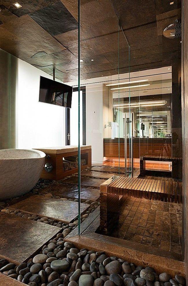 Галька в интерьере ванной комнаты - это необычно, красиво и приятно по ощущениям