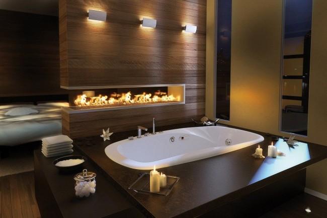 Камин в ванной это редкость и возможность с большим удовольствием проводить время нежась в ванной