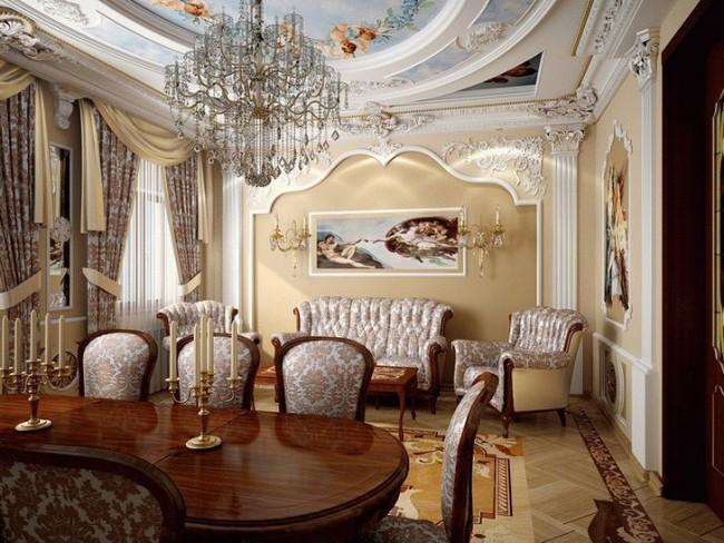 Комната, оформленная в стиле ампир, с применением всех атрибутов стиля