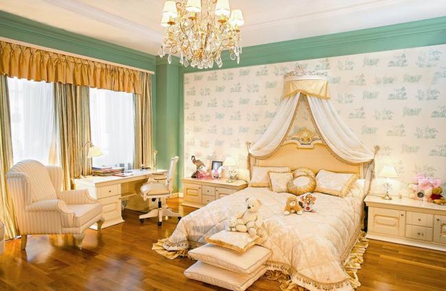 Современная детская комната оформленная в стиле ампир