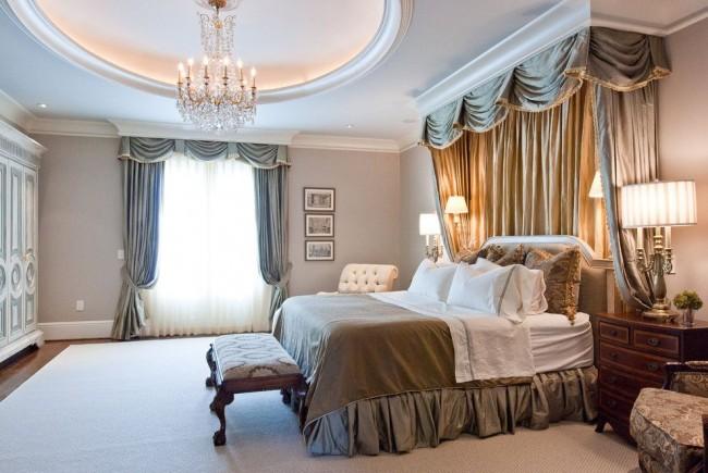 Гармоничное сочетание текстиля в спальной комнаты