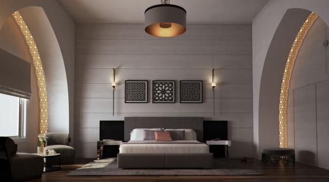 Стильная модерновая спальня с подсветкой в огромных арках