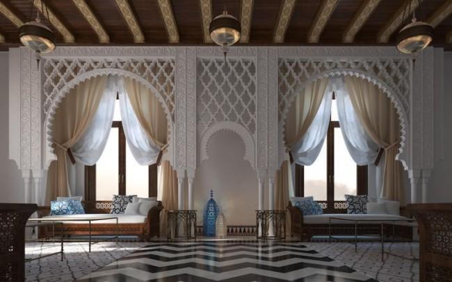 Данная отделка арки невероятно украшает помещение