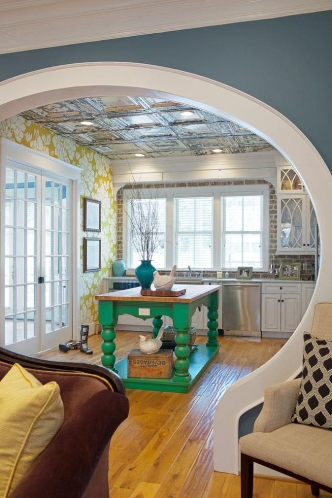 Круглая арка с классической отделкой гипсокартоном