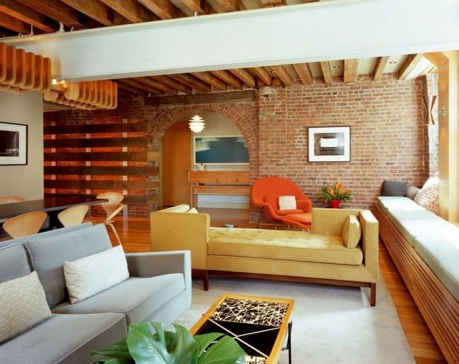 Гостиная комната с аркой в стиле лофт
