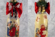 Фото 23 45+ идей декупажа бутылок к Новому году