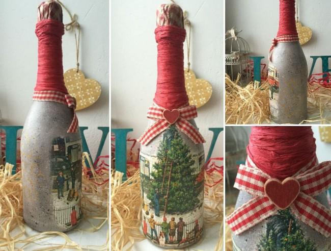 Декупаж шампанского на новый год с романтическими нотками