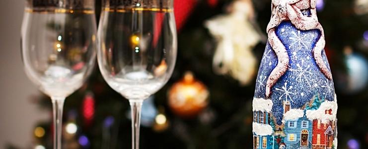 45+ идей декупажа бутылок к Новому году