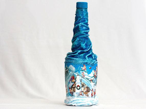 Пример декора бутылки с помощью ткани
