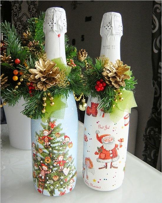 Сделайте необычной сервировку новогоднего стола с помощью задекорированных бутылок шампанского