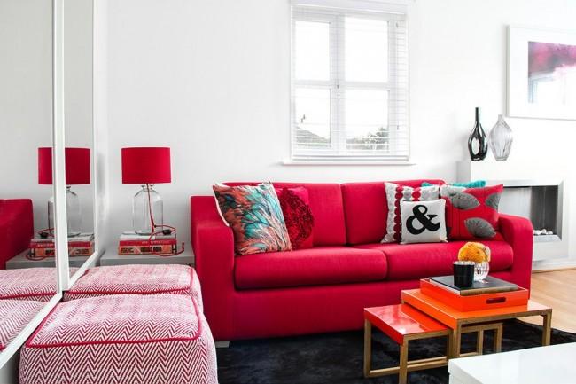 Красный цвет добавит яркости и выразительности вашему интерьеру