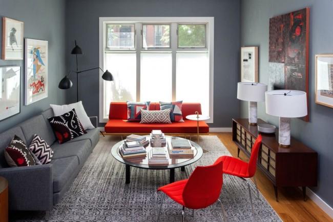 Прекрасное сочетание серого и красного цветов в интерьере