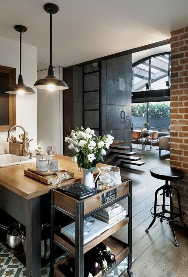 """Простые поверхности и немного декора помогут создать кухня в """"промышленном"""" стиле"""